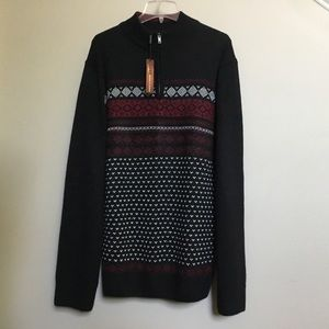 NWT MINISTRY OF FASHION black 1/2 zip sweater XL